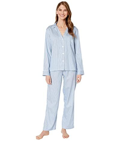 LAUREN Ralph Lauren Petite Classic Woven Long Sleeve Pointed Notch Collar Long Pants Pajama Set (Blue Stripe) Women