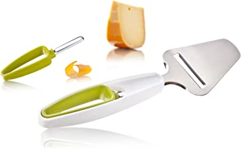 Tomorrow's Kitchen Plus Tools Cheese Slicer and Rind Peeler, White/Green