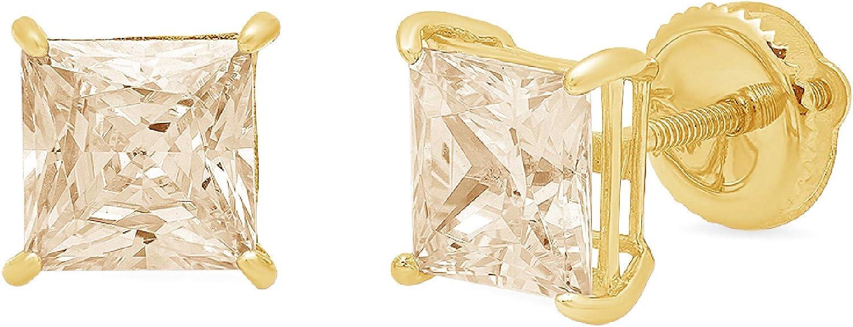 Clara Pucci 2.0 ct Brilliant Princess Cut Solitaire Genuine VVS1 Fine Natural Brown Morganite Gemstone Pair of Stud Earrings Solid 18K Yellow Gold Screw Back