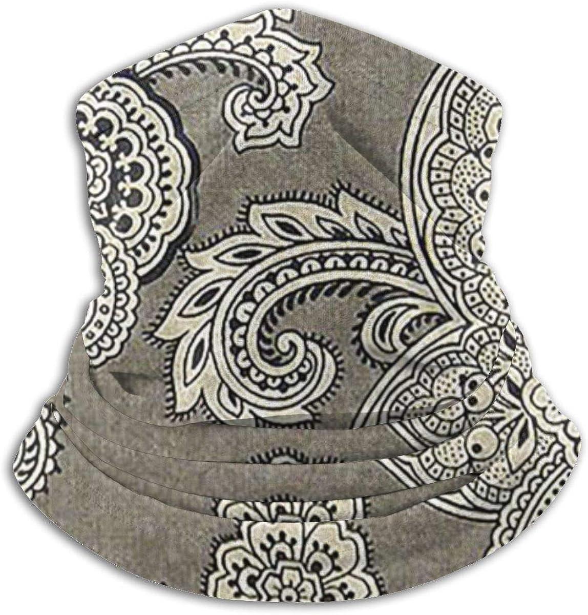Paisley Pattern Black Multi-function Neck Warmer Gaiter Polyester Neck Warmer Windproof Winter Neck Gaiter Cold Weather Scarf For Men Women