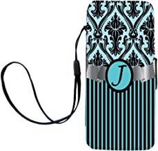 """Rikki Knight Letter""""J"""" Initial Sky Blue Damask and Stripes Monogrammed Flip Wallet iPhoneCase with Magnetic Flap for iPhone 5/5s - Sky Blue"""