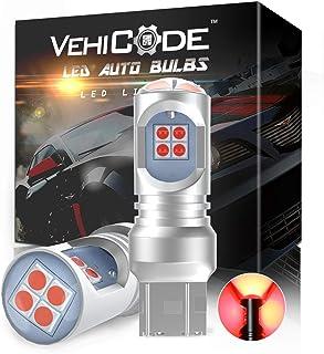 VehiCode 7440 LED Bulb Red 7443 7443R LED Brake Light Super Bright Kit 12V-24V T20 992 7444 W21/5W W21W Replacement with P...