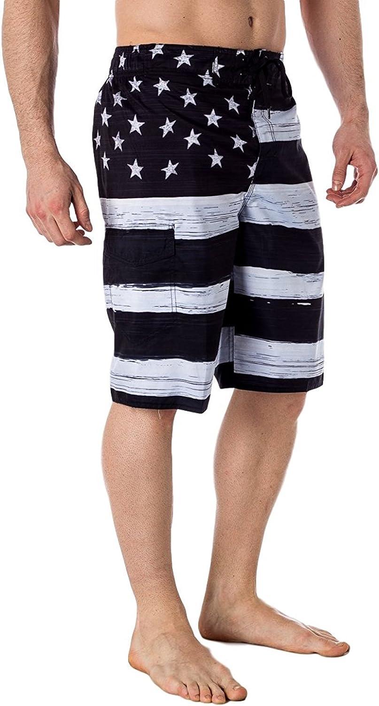 US Apparel Men's American Flag Inspired Board Shorts, Black, Small (30