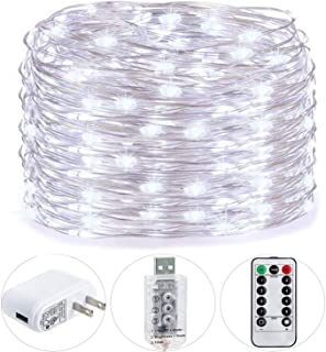 HSicily USB Plug in Fairy Lights with Remote Control Timer, 8 Modes 33ft 100 LED USB String Lights with Adapter,Cool White LED Twinkle Lights for Christmas Bedroom Indoor Decoration