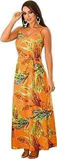 Vestido Longo Estampado Detalhe Cinto e Alça Ajustável - V0262
