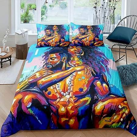 African American Lovers Couple Duvet Cover Sets Queen ,Afro Black King&Queen Bedding Set, Sexy Comforter Cover Bedroom Decor for Black Girls Women (No Comforter