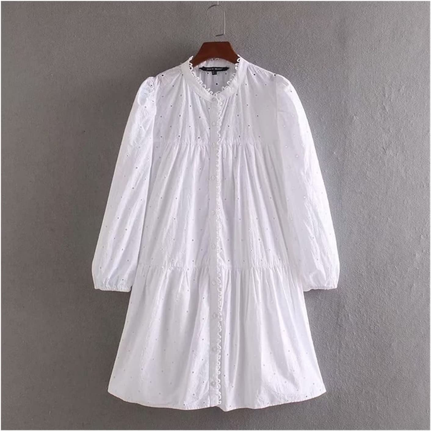 XINGHUIJPN Female Elegant Hollow Embroidery specialty shop S Casual Choice Shirt White