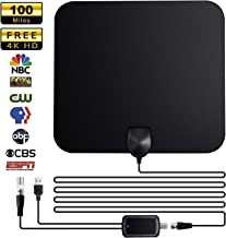 HDTV Antenna,GIM Indoor Digital TV Antenna -100 Miles Range with Amplifier Signal Booster 4K HD VHF UHF Freeview for Life Local Channels Support All TV's -16.5ft Coax Cable
