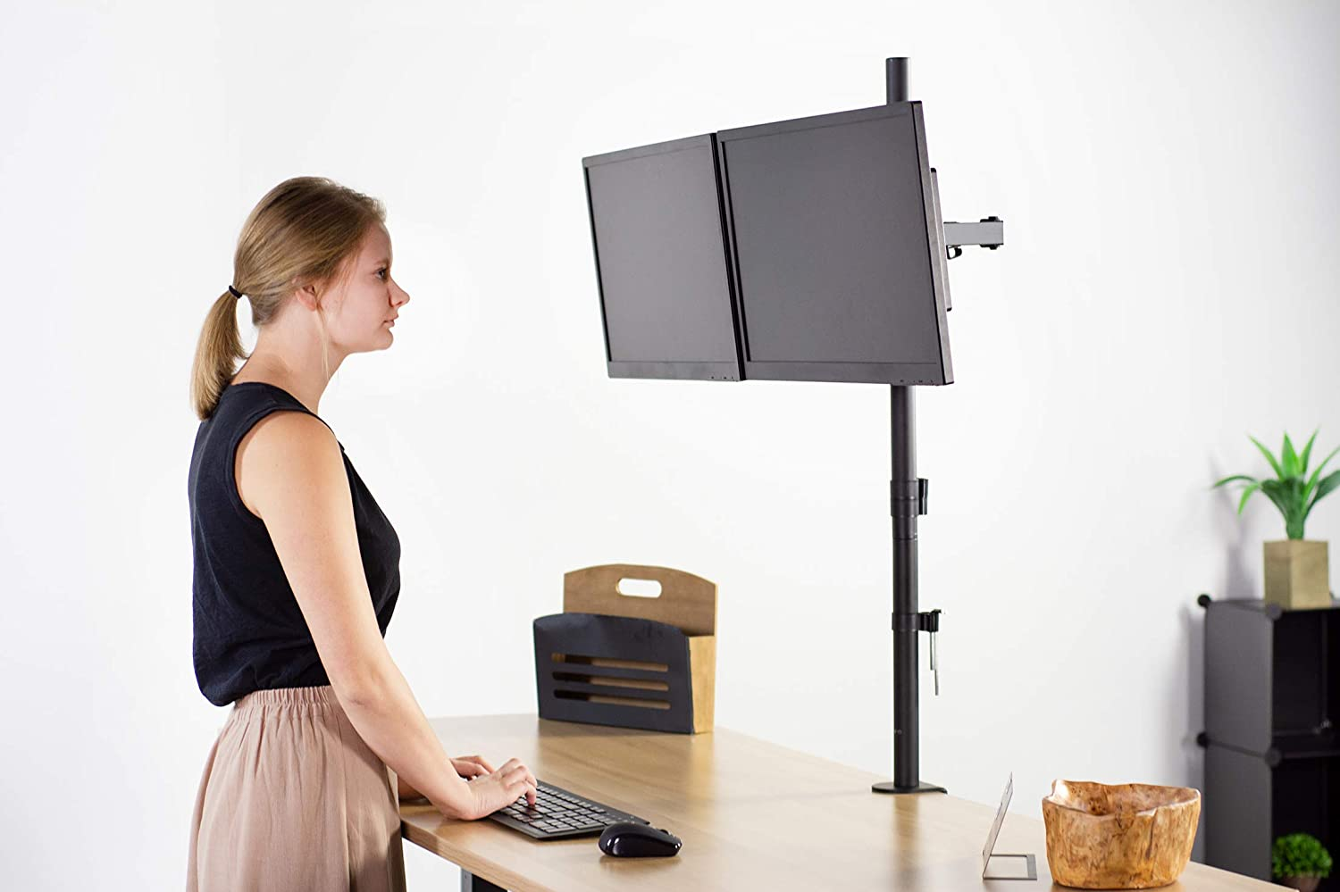 VIVO Dual Monitor Stand Up Desk Mount Extra Tall 39 inch Pole, Fully Adjustable Stand for up to 27 inch Screens, STAND-V012