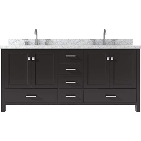 Amazon Com Ariel 73 Inch Espresso Double Bathroom Vanity Cabinet With Oval Sinks And Carrara White Marble Countertop 4 Soft Closing Doors And 6 Full Extension Dovetail Drawers No Mirror Kitchen Dining