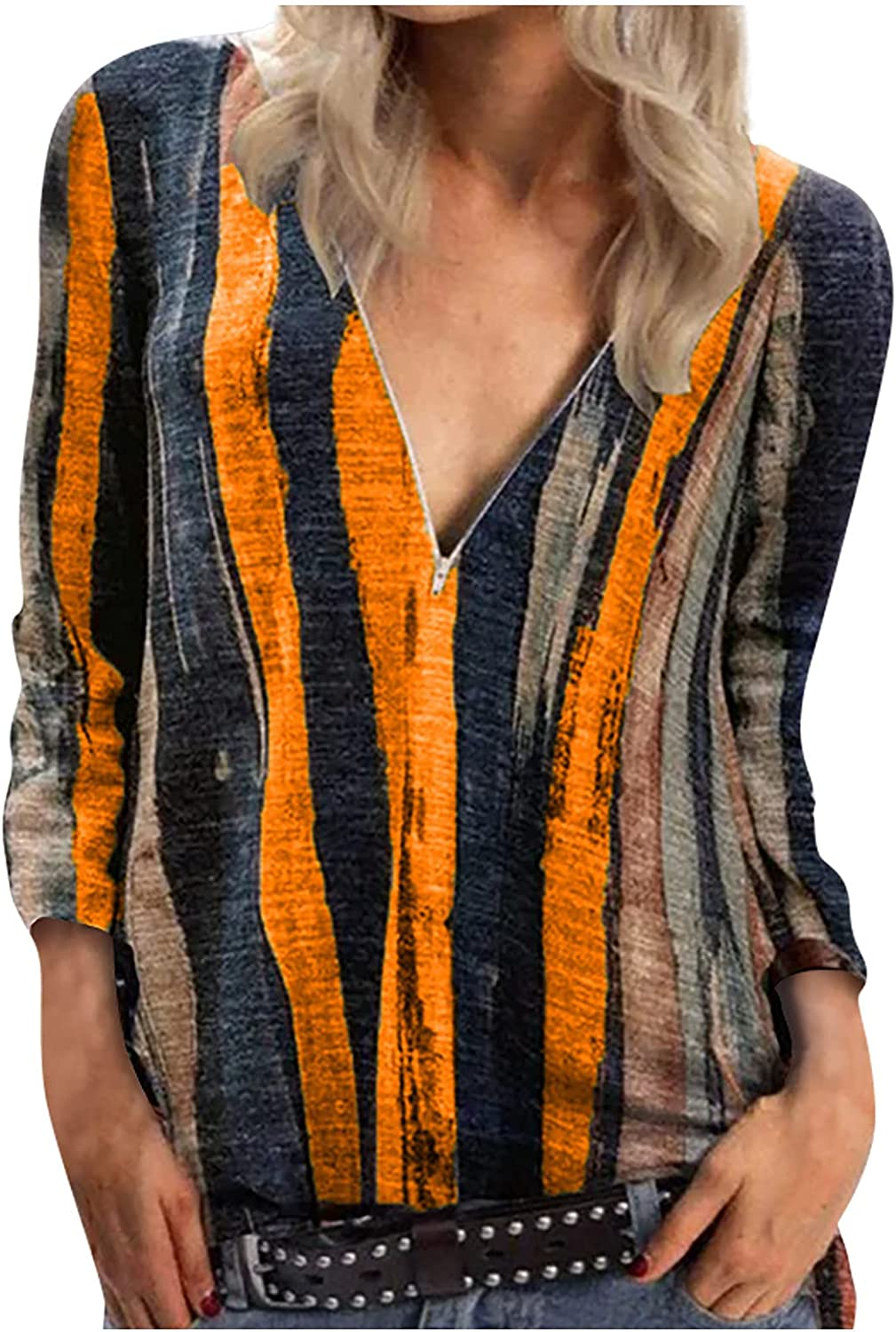 Womens Color Stripe Printing Blouses Casual V Neck Zipper T Shirt Tops Loose Plus Size Long Sleeves Blouse T-Shirt