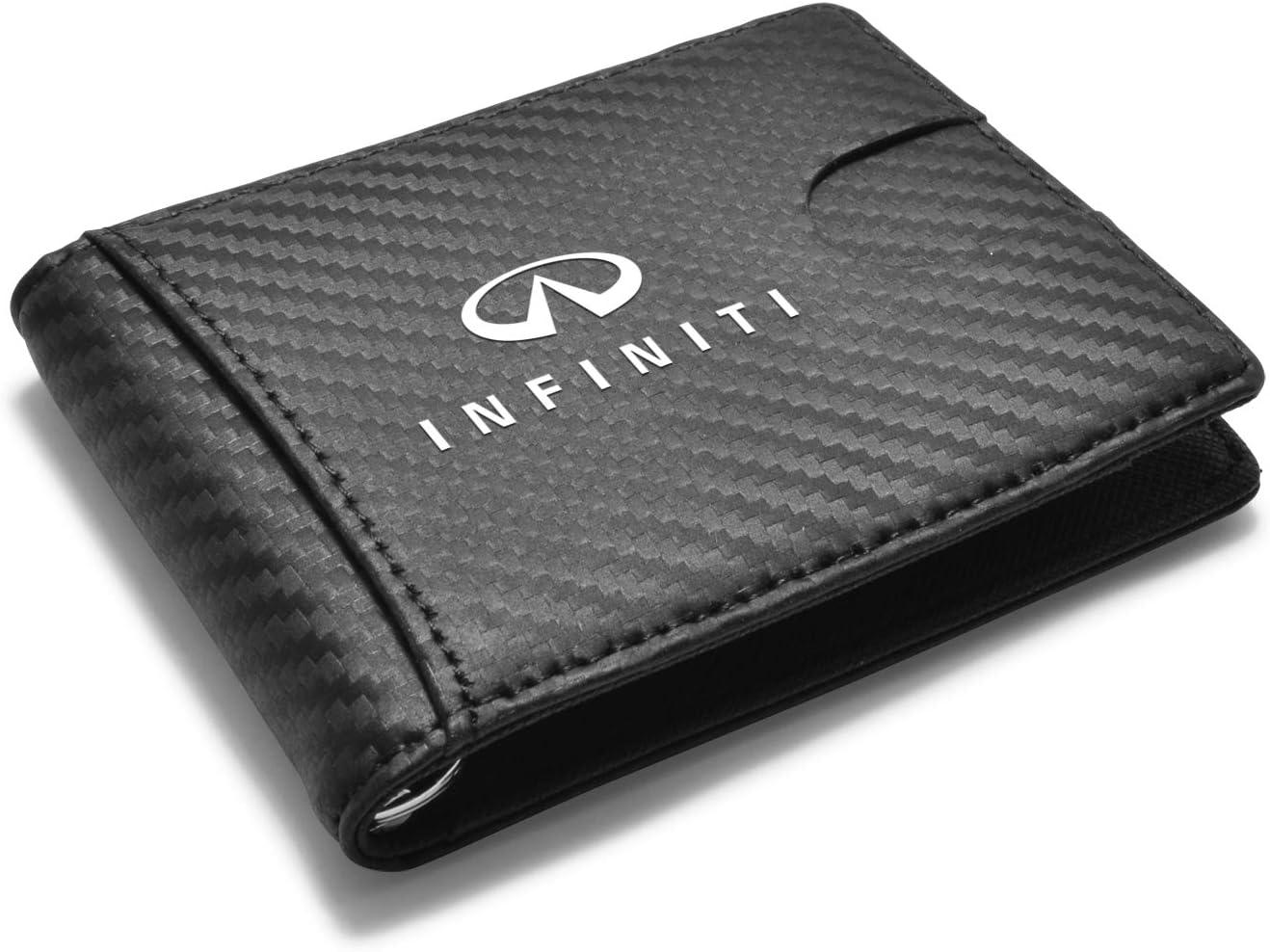 iPick Image for - INFINITI Logo RFID Blocking Black Slim Real Leather Carbon Fiber Patterns Bi-fold Wallet for Men Women