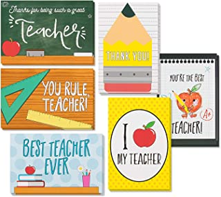 Teacher Appreciation Cards, Thank You Greeting Cards for Kindergarten, Preschool, Elementary School (4 x 6 in, 48 Pack)
