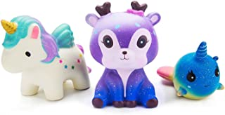 WATINC Kawaii 3 PCS Jumbo Squishy Toy,Starry Deer Unicorn Whale 3pcs Scented Charms Lovely Toy for Kids, Stress Relief Toy, Decorative Props Large(Starry Deer 3p)