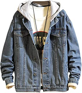 Lavnis Men's Denim Hoodie Jacket Casual Slim Fit Button Down Jeans Coat