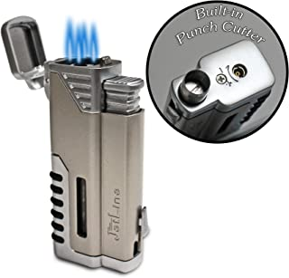 JetLine Gotham Chrome Quad Torch Red Flame Lighter