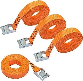 AmazonBasics – Spanngurt, 6 m lang, 25 mm breit, Belastbarkeit 150 kg, entspricht DIN EN 12195-2, Orange, 4 Stück