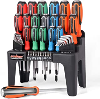 HORUSDY 44-Piece Magnetic Screwdriver Set with Go-Thru Steel Blades | High Torque, Plastic Racking