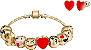 Big Mo's Toys Girls Gift - Emoji Charm Bracelet and Earrings Jewelry Set for Girls and Women