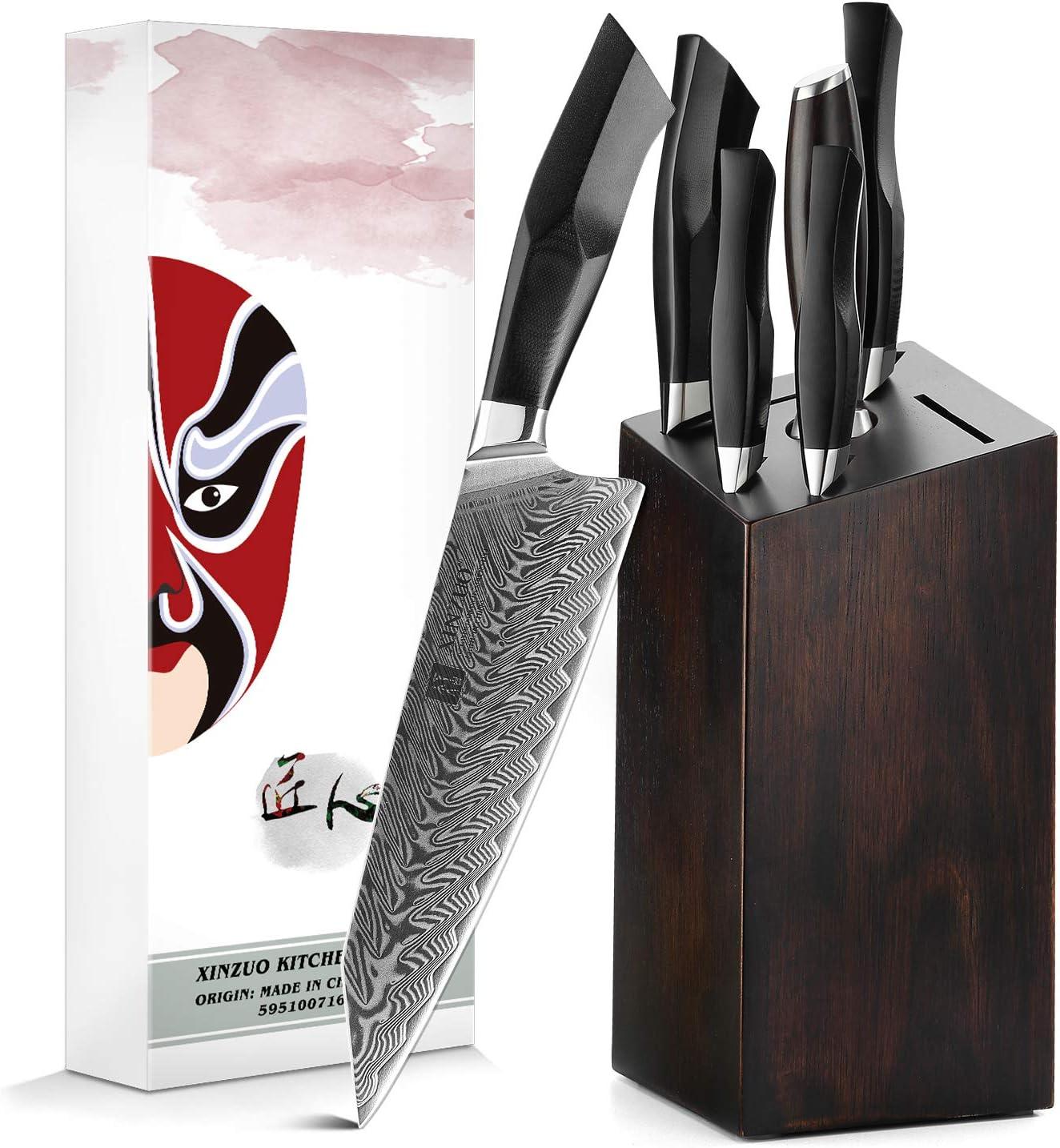 XINZUO Damascus 販売期間 限定のお得なタイムセール Steel 7-Piece Kitchen Knife Block Woode with ファッション通販 Set