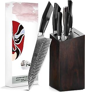 XINZUO Ensemble de Couteaux de Cuisine en Acier Damas 7 Pièces avec Bloc de Couteaux et Fusil à Aiguiser Acier,Set Couteau...