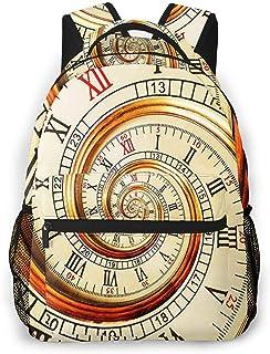 Mochila Tipo Casual Mochila Escolares Mochilas Estilo Impermeable para Viaje De Ordenador Portátil hasta 14 Pulgadas Reloj Swirly Clásico