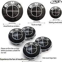 7pcs BMW Black Emblem,BMW Black Steering Wheel Emblem Decal,BMW Wheel Center Caps Hub CapsX4,Replacement for Hood/Trunk for BMW