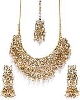Zaveri Pearls Gold Tone Kundan & Pearls Bridal Choker Necklace Set For Women-ZPFK8454