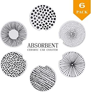 """2.56"""" Car Cup Holder Coasters Absorbent for Drinks Ceramic Stone Coasters Geometric Lines Set of 6-Absorb Condensations, Keep Car Cup Holders Dry and Clean, with Finger Notch to Removal while cleaning"""