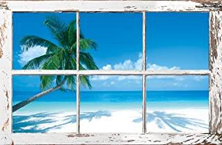 TROPICAL WINDOW - PALM TREES POSTER 24X36