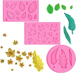 BOZOA (3 Pack) Assorted Leaf Fondant Mold,3D Leaf Silicone Mold for Chocolate Candy, Sugarcraft Cake Decoration, Cupcake Topper, Polymer Clay