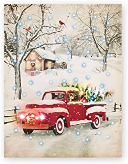 Collections Etc Old Red Truck in Snow Lighted Wall Canvas