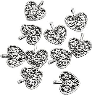 RUBYCA 60PCS Charm Pendant Heart Tibetan Metal Beads Silver Color for Jewelry Making DIY Bracelet
