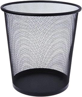 Poubelle ronde en maille métallique pour le recyclage des outils de bureau Noir