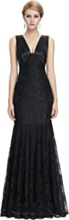 Women's Vintage Sleeveless Floral Lace Evening Cocktail Maxi Dress
