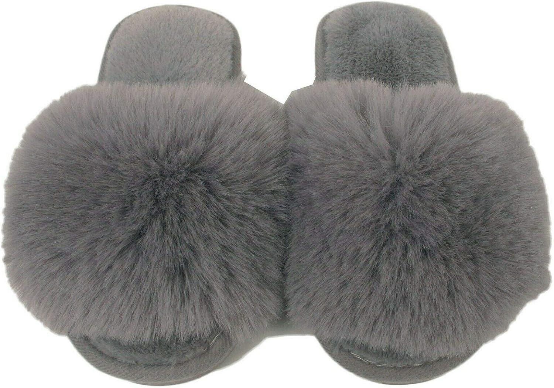 Girls Furry Sliders Children Fluffy Faux Fur Slippers Mules Kids Flip Flop Sizes