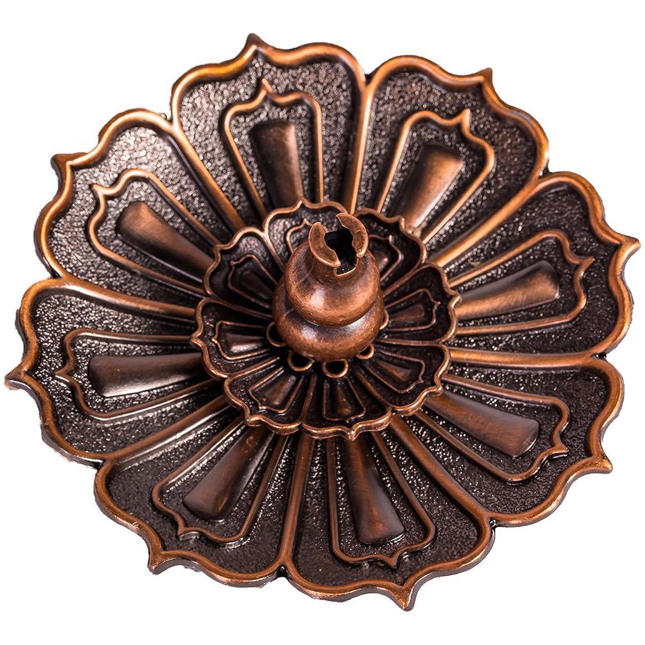 獣有用レンチshanbentangロータス香炉ホルダーfor Sticks Cones Coils Incense、ヴィンテージスタイル、銅色