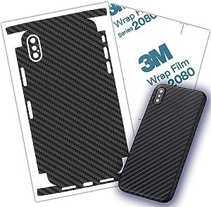 Carbon Fiber 3M Film iPhone Skin Protective Around Edges Cover Black Skin for iPhone 7, 7 Plus 8, 8 Plus, X, Xs, Xs Max (iPhone SE 2020)