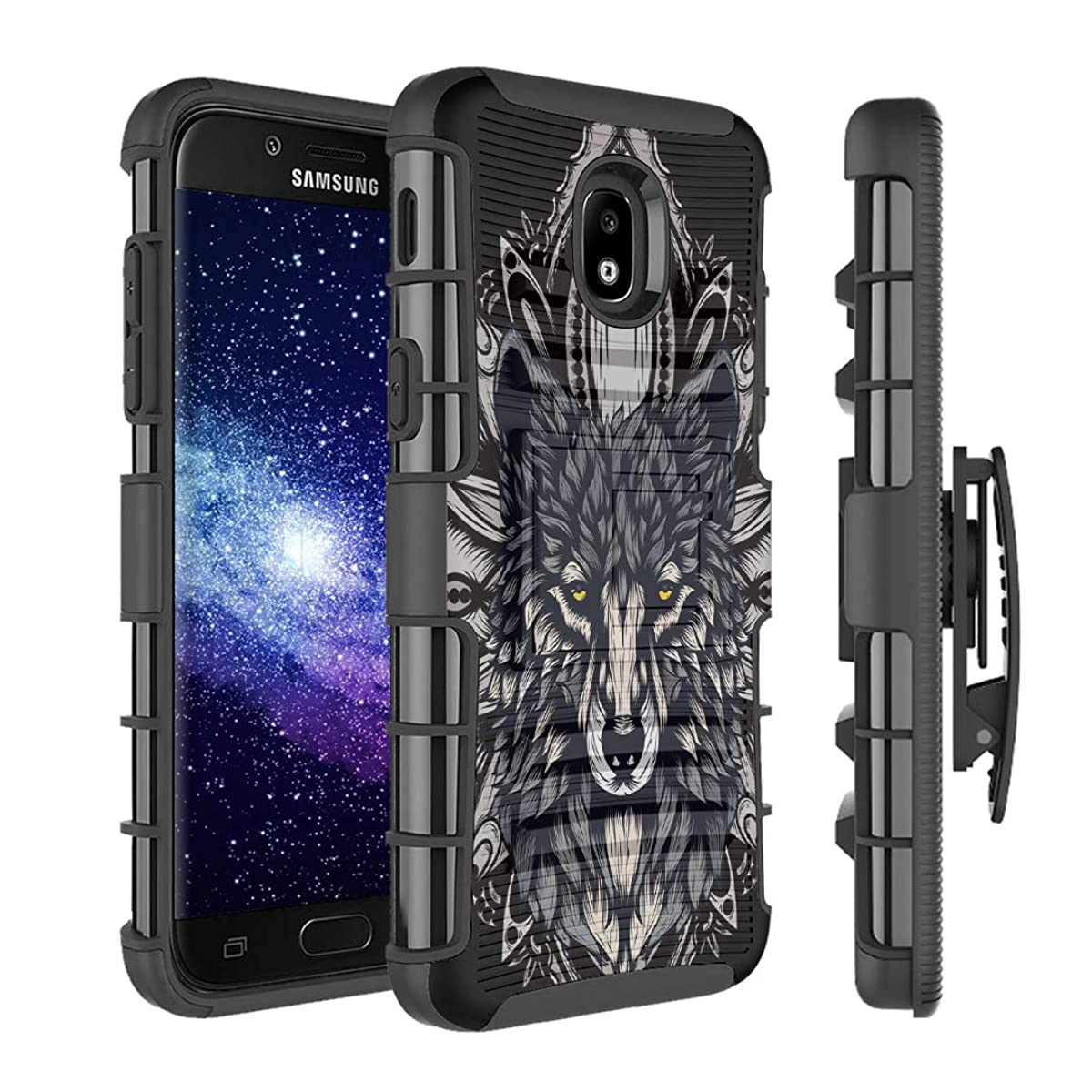 Capsule Case Compatible with Samsung Galaxy J7 2018 (J737), J7 Star, J7 Aero, J7 Refine, J7V 2nd Gen, J7 Crown, J7 Eon [Armor Kickstand Holster Combo Case Black] - (Wolf)