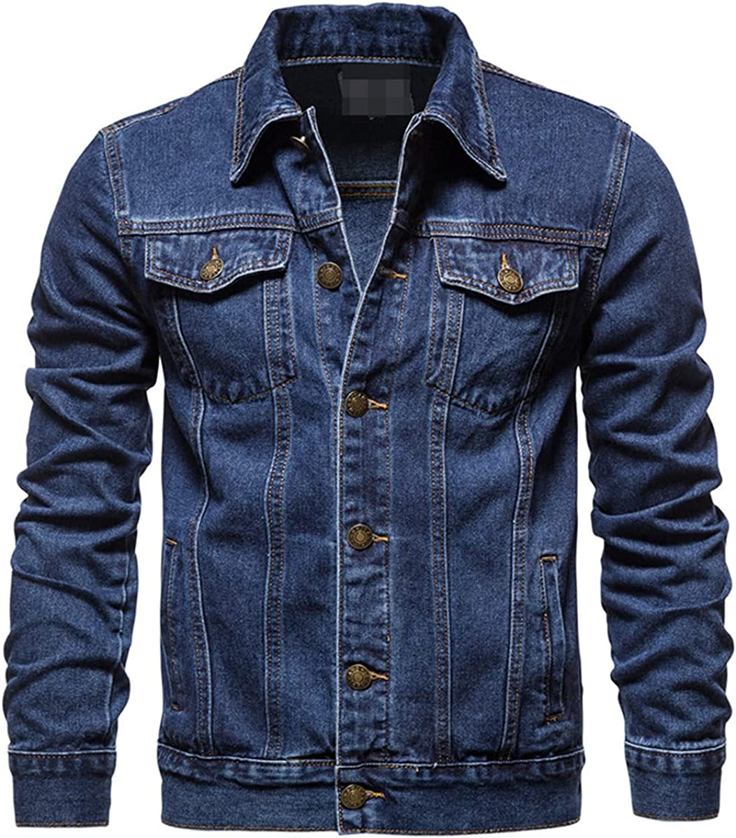 Cotton Denim Jacket Men's Casual Solid Color Lapel Single-Breasted Jeans Jacket Fall Slim Top