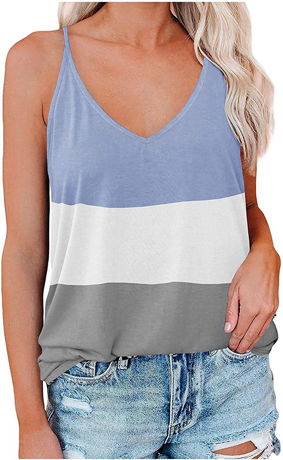 ovticza Womens Los Angeles Mall Summer Tops Women To Vest Fashion Large-scale sale Patchwork Color