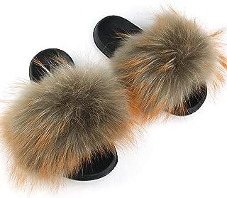 Manka Vesa Womens Winter Luxury Real Raccon Fur Slippers Slides Indoor Outdoor Flat Soles Soft Slip On Shoes