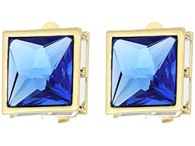 Vince Camuto Pyramid Clip Button Earrings (Gold/Crystal/Sapphire) Earring