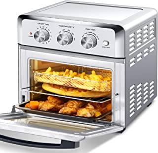 Geek Chef Air Fryer Toaster Oven, 4 Slice 19 Quart Convection Airfryer Countertop Oven, Roast, Bake, Broil,Reheat,Fry Oil-Free, Accessories & Recipes Included, Stainless Steel, Silver 1500W