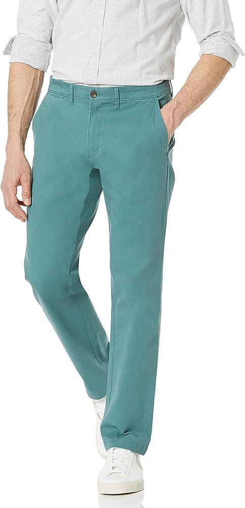Amazon essentials, pantaloni per uomo elasticizzati, 97% cotone, 3% elastan, verde salvia MAE60011FL18A