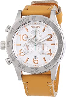 Nixon A424-1603 Ladies 42-20 Chrono Natural Leather Strap Watch