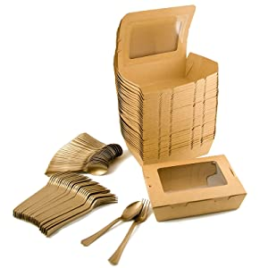 Take Out Food Containers Kraft Brown Take Out Boxes 40oz/30Pack With knives Spoons,Disposable Food Containers with 18PE film Leak&Grease Resistant-To Go Box Containers with Transparent Window for Food