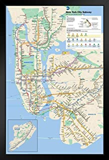 Pyramid America New York City Subway Map Black Wood Framed Art Poster 14x20