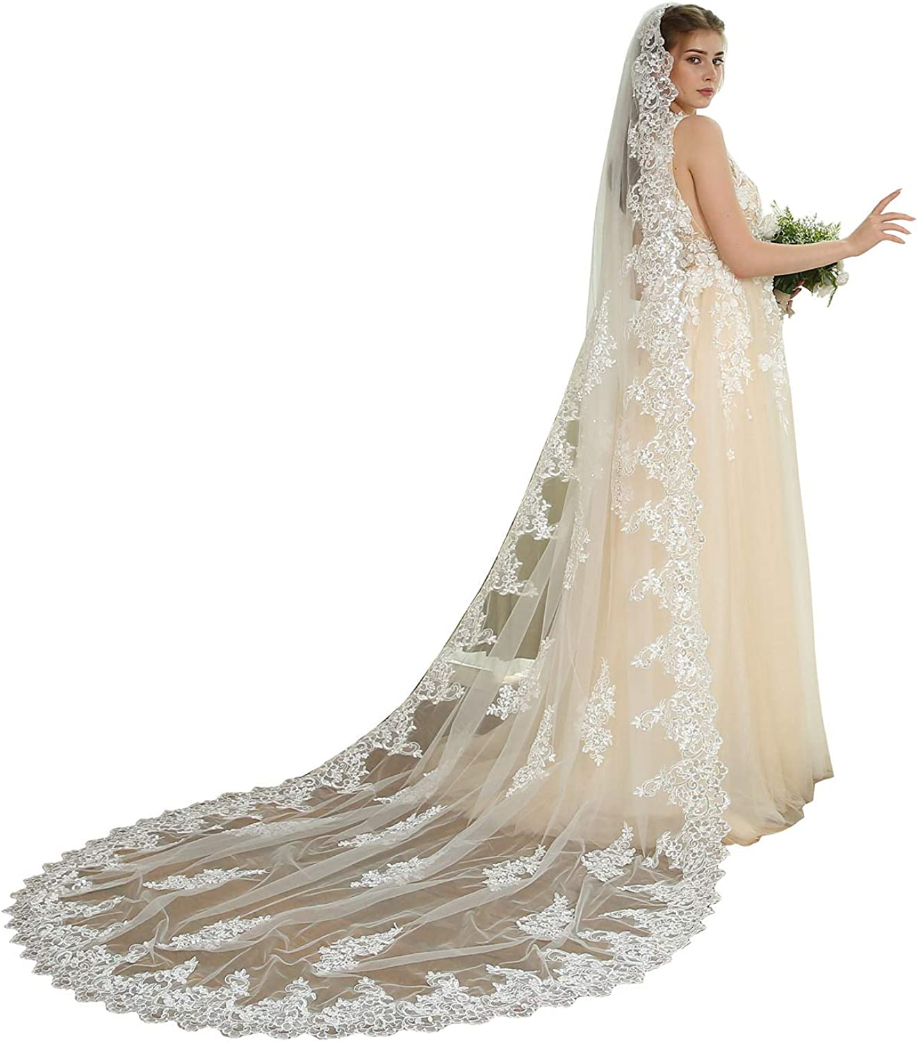 Newdeve Womens 3M 1T White Wedding Bridal Veils with Free Comb