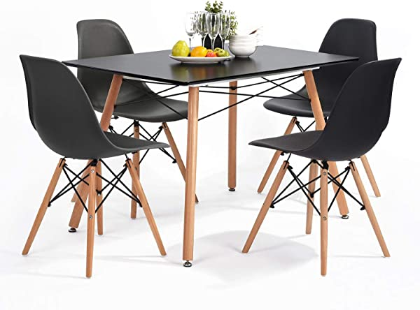 HOMY CASA Dinning Table Set 4 Persons With Modern Rectangular Top Tea Coffee Leisure Pedestal Desk Set Of Four Natural Wood Legs Armless Chairs